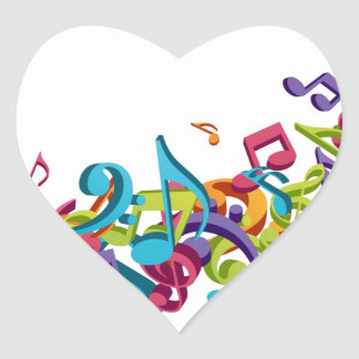 cool colourful music notes & sounds art image heart sticker