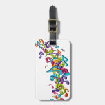 cool colourful music notes & sounds art image travel bag tags