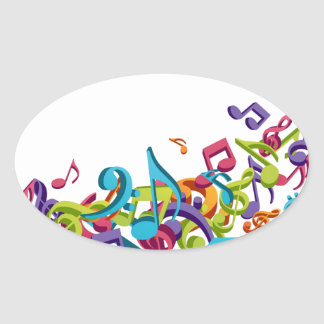 cool colourful music notes & sounds art image oval sticker