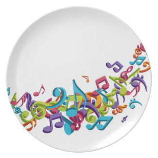 cool colourful music notes & sounds art image plate