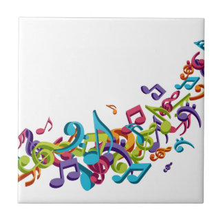 cool colourful music notes & sounds art image small square tile