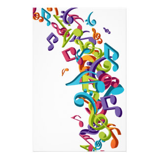 cool colourful music notes & sounds art image stationery