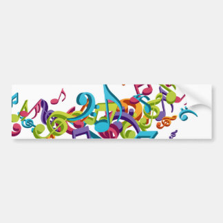 cool colourful music notes & sounds bumper sticker
