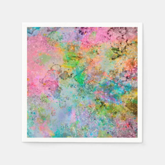 Cool colourful neon colours abstract marble image disposable serviettes