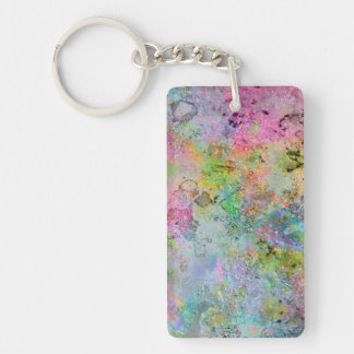 Cool colourful neon colours abstract marble image Double-Sided rectangular acrylic key ring