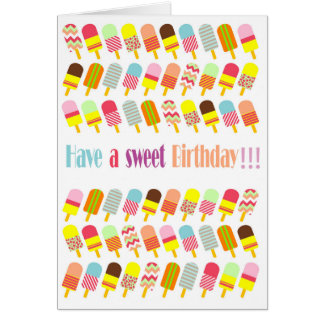 Cool & Colourful Pattern Popsicles Card