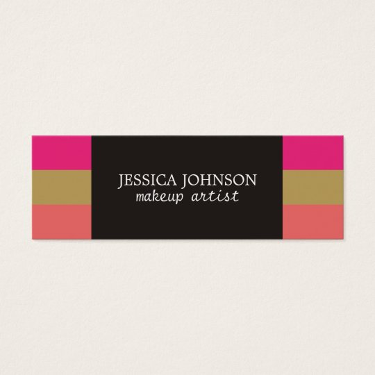 Cool Colourful Stripes Grey Makeup Artist Mini Business Card