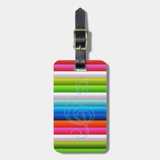 cool colourful stripes with a music note luggage