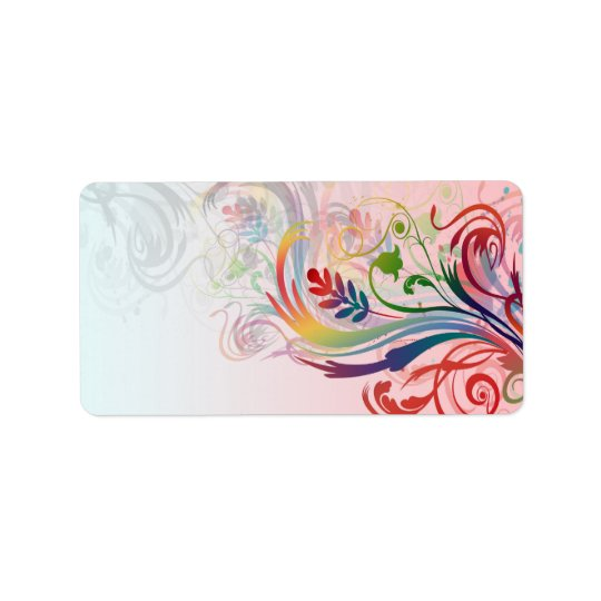 Cool colourful summer colours swirls flowers address label