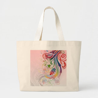 Cool colourful summer colours swirls flowers large tote bag