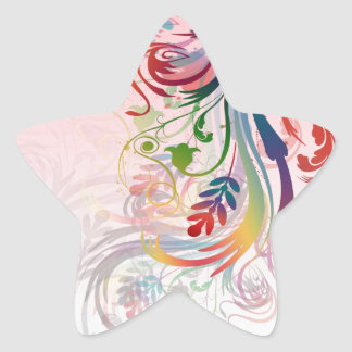 Cool colourful summer colours swirls flowers star sticker
