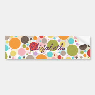Cool colourful trendy girly bubbles polka dots bumper sticker