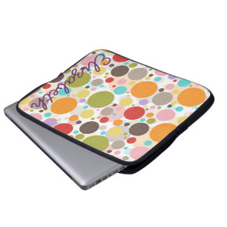 Cool colourful trendy girly bubbles polka dots laptop sleeve