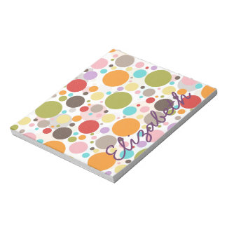 Cool colourful trendy girly bubbles polka dots notepad