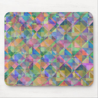 Cool colourful  triangles squares shapes overlaid mouse mat