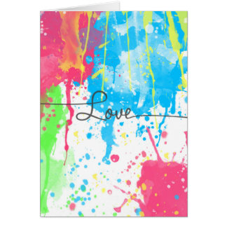 Cool colourful vibrant watercolours Love word Card