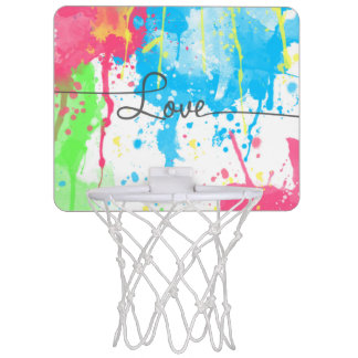 Cool colourful vibrant watercolours Love word Mini Basketball Hoop