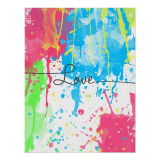 Cool colourful vibrant watercolours Love word Poster