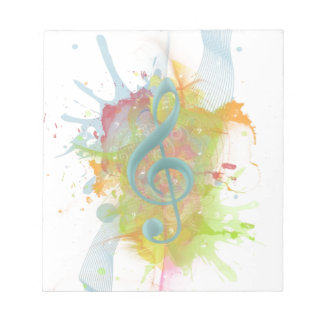 Cool colourful watercolour splatters music notes