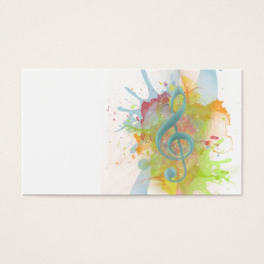 Cool colourful watercolour splatters music notes business card