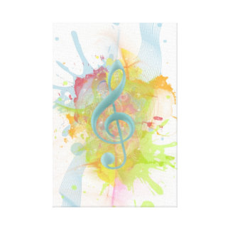 Cool colourful watercolour splatters music notes canvas print