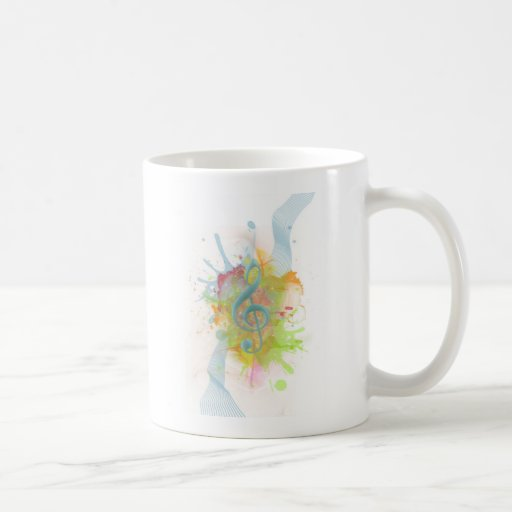 Cool colourful watercolour splatters music notes coffee mugs