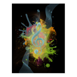 Cool colourful watercolour splatters music notes postcard
