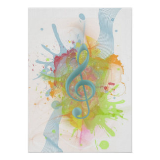 Cool colourful watercolour splatters music notes poster