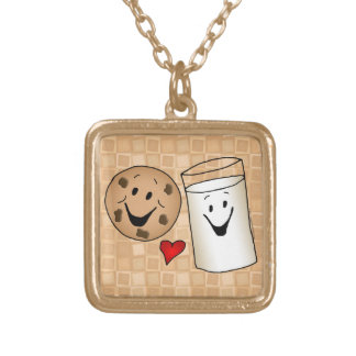 Cool Cookies and Milk Friends Cartoon Gold Plated Necklace