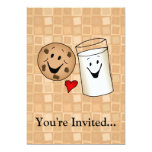 Cool Cookies and Milk Friends Cartoon 13 Cm X 18 Cm Invitation Card