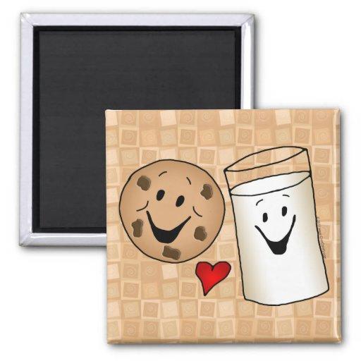 Cool Cookies and Milk Friends Cartoon Refrigerator Magnet