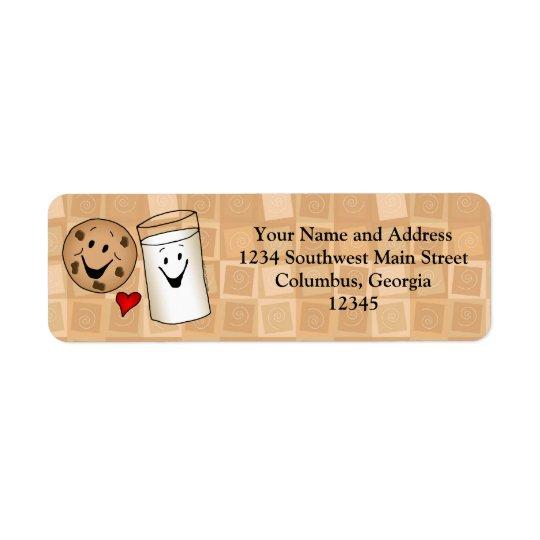 Cool Cookies and Milk Friends Cartoon Return Address Label