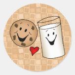 Cool Cookies and Milk Friends Cartoon Round Sticker