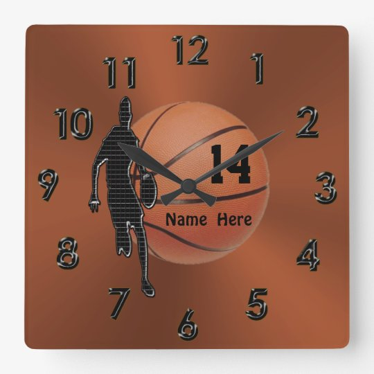 Cool Copper Coloured Personalised Basketball Square Wall Clock