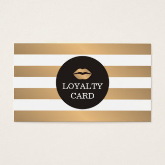 Cool Copper Striped Grey Makeup Loyalty Card