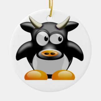 Cool cow - Cool Cow Round Ceramic Decoration