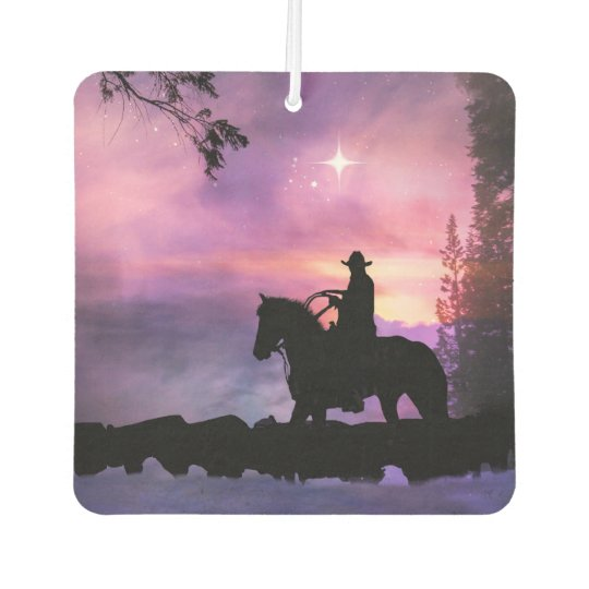 Cool Cowboy and Cattle in the Snow Air Freshener