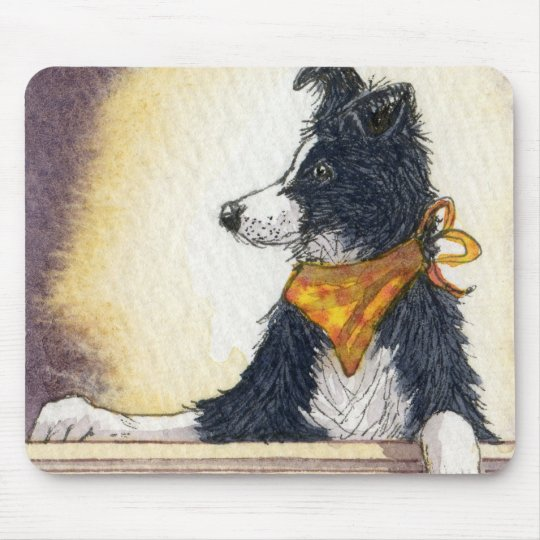 Cool cowboy collie carefully keeps an eye... mouse pad