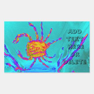 Cool Crab Undersea Art Rectangular Sticker