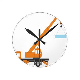 Cool Crane Boy Gift Idea Round Clock