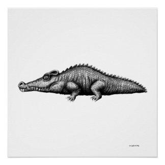 Cool crocodile ink pen drawing art poster