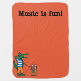 Cool Crocodile Listens to Music Baby Blanket