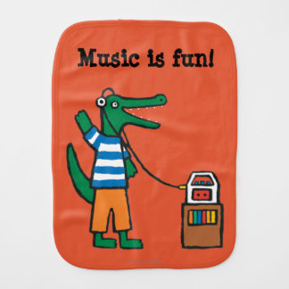 Cool Crocodile Listens to Music Burp Cloth