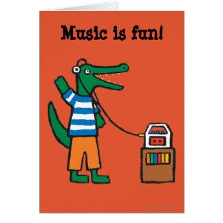Cool Crocodile Listens to Music Card