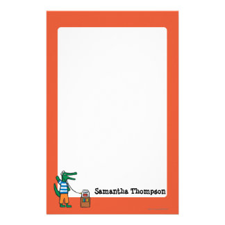 Cool Crocodile Listens to Music Customized Stationery