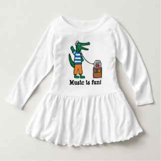 Cool Crocodile Listens to Music Dress
