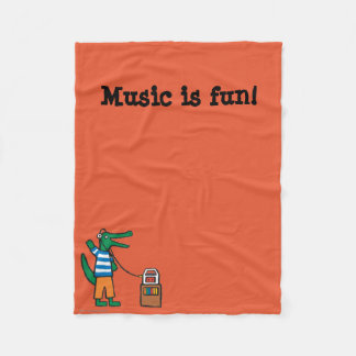 Cool Crocodile Listens to Music Fleece Blanket