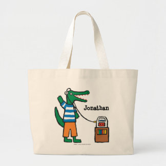 Cool Crocodile Listens to Music Large Tote Bag