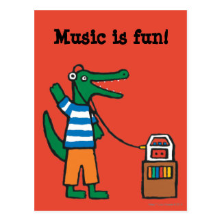 Cool Crocodile Listens to Music Postcard