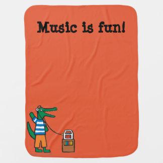Cool Crocodile Listens to Music Pramblanket